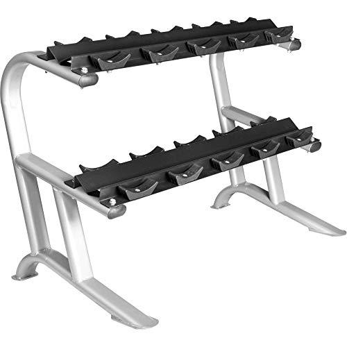 GORILLA SPORTS® Hantelständer für Kurzhanteln mit 2 Ablagen – Kurzhantelablage Silber bis 250 kg belastbar
