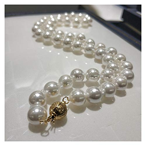 Shell Pearl Necklace Jewelry 8-8.5mm 18 Inch High Gloss Top Necklace Round White Natural Sea Shell Pearl Necklace (Color : White)