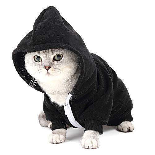 Pijama Hombre Mujer, Pijama en Tejido Franela Polar Suave y cómodo para Toda la Familia, excelente para Invierno, Negro - Perro & Gato, 2XL