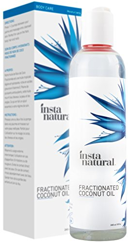 Fractionated Coconut Oil - 100% Pure - Liquid Moisturizer for Skin, Face, Body & Nails - Dry & Damaged Hair Conditioner - Use as Shave Gel, Massage & Bath Oils - Easy Baby Use - InstaNatural - 8 oz
