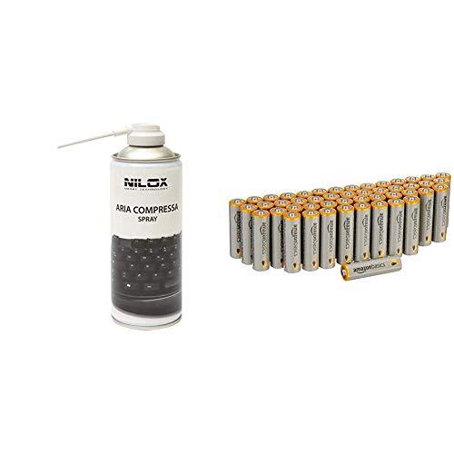 Nilox NXA02061-1 Bomboletta Spray Aria Compressa per Pulizia Computer, Tastiere e Accessori & Amazon Basics - Pile Stilo Alcaline AA Performance, confezione da 48