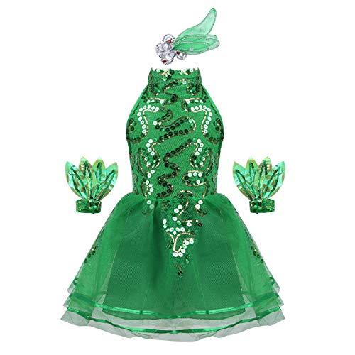 iiniim Vestido Princesa con Lentejuelas Flores Hojas Niña Traje de Baile Jazz Patinaje Artistico Tutú Danza Ballet Falda de Malla Conjunto Brillante con Muñequeras Disfraz Elfo Arbol Verde 6-7 Años