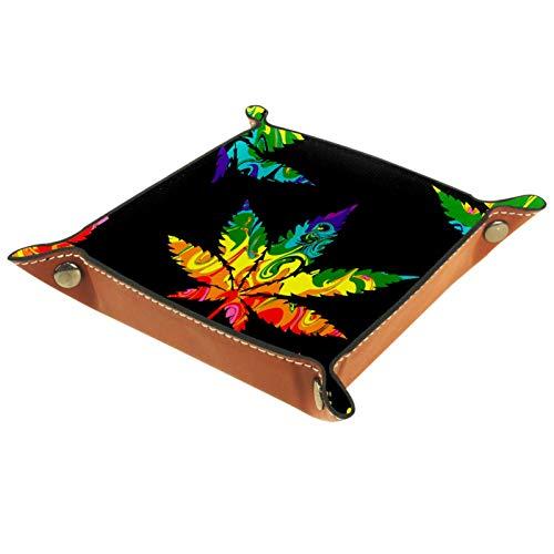 Caja de almacenamiento pequeña, bandeja de valet para hombre,Cannabis abstracto negro,Organizador de cuero para llaves de caja de monedas