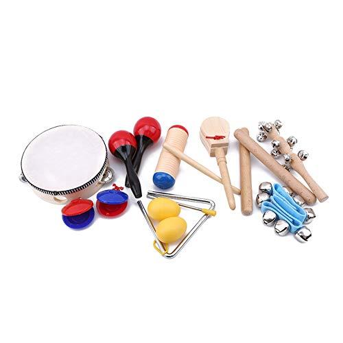 MOONRING 10 Stück Kinder Schlagzeug Instrumente Set Geschenk für Kinder Frühe Bildung