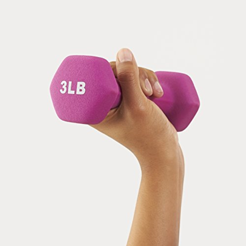 Product Image 4: Amazon Basics Neoprene Dumbbell Hand Weights, 3 Pound Each, Purple – Set of 2