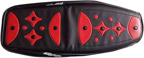 kmltail Ultra Design Super fit Professional Rexine seat Cover with Threaded Finish Suitable for Hero Passion Pro - (Red & Black)