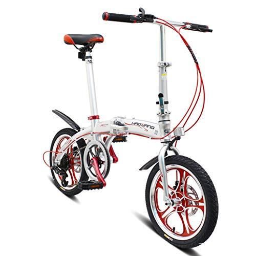 RPOLY Bicicleta Plegable, 6 velocidades Bici Plegable Unisex Plegable de la Ciudad para Bicicleta con el Marco Plegable de Aluminio,Silver_16 Inch