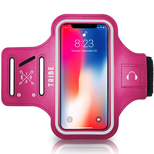 TRIBE Water Resistant Cell Phone Armband Case Running Holder for iPhone Pro Max Plus Mini SE (12 11 X XS XR 8 7 6 5) Galaxy S Ultra Plus Lite Edge Note (21 20 10 9 8 7 6 5) Adjustable Strap Pocket Key