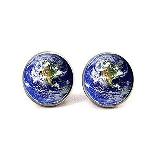 Earth, Globe, World, Planet Earth Post Ohrringe, Ohrstecker, Naturschmuck, Glasohrringe, Bilderohrringe