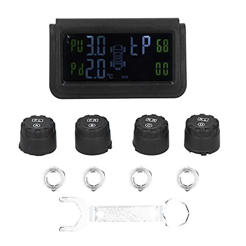 Sistema de control de la presión de los neumáticos Sistema de control de la presión de los neumáticos TPMS de energía solar con 4 sensores Alarma de seguridad automática RV para coche RV Remolque Cami