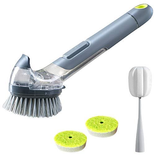ACAMPTAR Cepillo de platos con dispensador de jabón, fregadero, cepillo para la botella y 2 esponjas de recambio