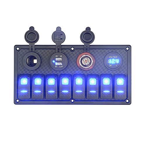 FWUDI Interruptor de Encendido 12V 12V 24V 8-bit conmutador de Inicio automática LED biela oscilante de Control Panel Dual USB voltímetro, Conveniente for el Panel Interruptor Marítimo General