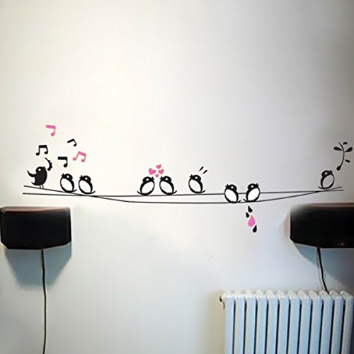 BestOfferBuy Dekorative Fenster Wand Aufkleber Sticker Singende Vögel Dekor JM8210 Abnehmbar