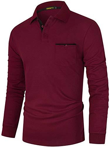 GNRSPTY Polo Manga Larga Hombre Algodon Slim Fit Camisetas Colores de Contraste con Bolsillos Reales Basic Golf Deporte Negocios T-Shirt Top,Rojo,L
