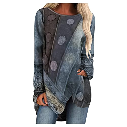 Oversized T Shirts for Women's Long Sleeve Shirts Loose Casual Tops Beautiful Print Crewneck Tshirts Blouse Tops Gray
