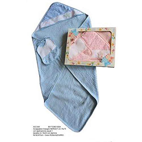 Bubabù ACC300-AZZ Accappatoio Neonato Margot Accappatoio a Triangolo con Bavetta da ricamare con fascia in Etamine, Azzurro, 75 x 75 cm
