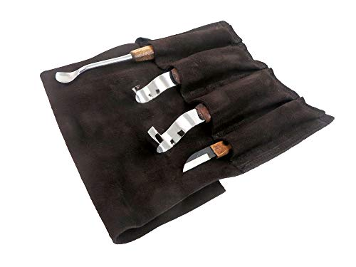 Narex 899501 4-Piece Spoon Carving Set with 2 Hook Knives, Spoon Carving Gouge and Dual Bevel Detail Carving Knife in Leather Tool Roll