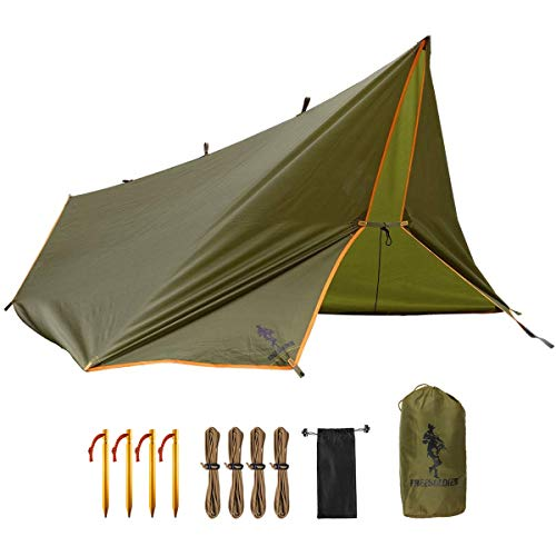FREE SOLDIER Waterproof Portable Tarp Multifunctional Outdoor Camping Traveling Awning Backpacking Tarp Shelter Rain Tarp (Brown)