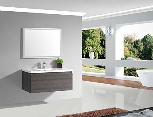 Jindoli Meuble Salle de Bain 100 cm Simple Vasque Gris Anthracite Pierre avec 1 tiroir, AquaTerra 100 x 46 x 40 ! Coup de !