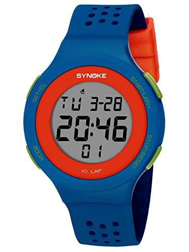 SYNOKE Kinder Digitaluhr Digitale Armbanduhr Mädchen Jungen Uhr Multifunktion Stoßfest und Wasserdicht - Blau