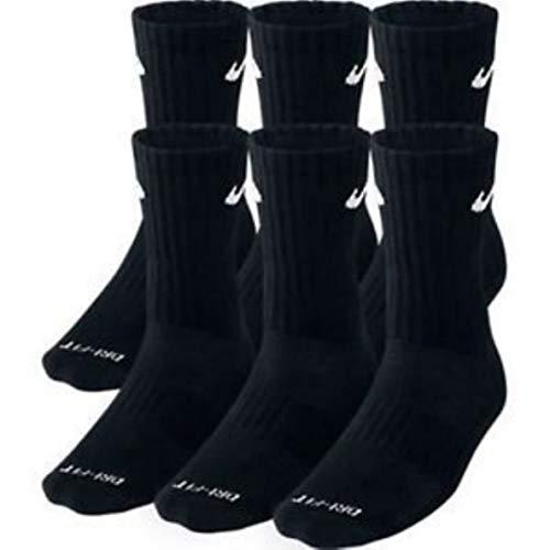 NIKE Dri-Fit Training Dry Cushioned Crew Socks 6 PAIR Black with White Signature Swoosh Logo) LARGE...