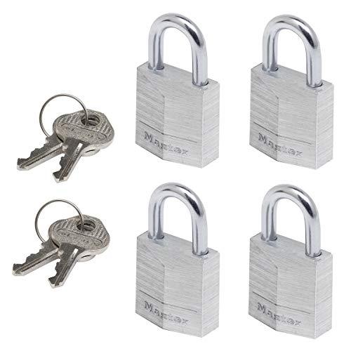 MASTER LOCK Kleine Vorhängeschlosser Set [Schlüssel] [4er-Pack] [Familienpackung] [Gleichschliessend] 9120EURQNOP - Ideal für Rucksäcke, Gepäck, Computertaschen und mehr