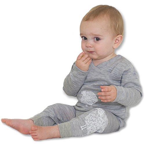 Merino Kids Thermisch, Lichtgrijs/Grijs Afdrukken, voor Kinderen 3-4 Jaar