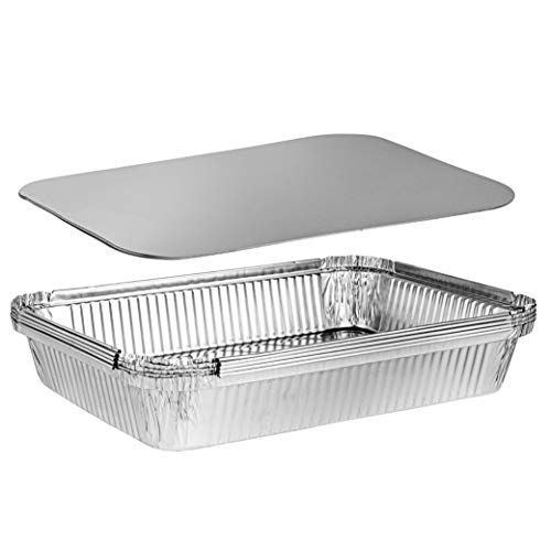 Plasticpro Disposable 4 LB Aluminum Takeout Tin Foil Oblong Baking Pans 12'' X 8'' X 2'' Inch With Cardboard Lids Bakeware - Cookware Perfect for Baking Cakes, Brownies, Bread, or Lunchbox, Pack of 5