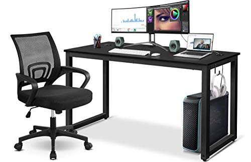 YAHEETECH Home Office Modern Desk & Chair Set, 55' Large Simple Computer Desk with Mesh Mid-Back Height Adjustable Office Chair, Long Writing/Work Desk, Mesh Swivel Chair with Lumbar Support, Black