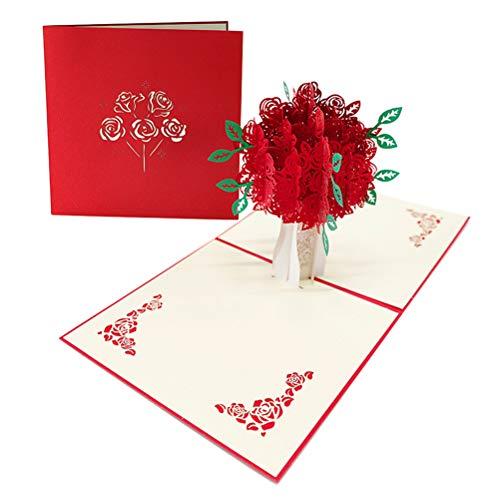 ENJOYPRO Rose Bouquet Pop Up Card, Valentines day card, Mothers day card, 3D Rose Bouquet Card, Rose Flower Greeting Card With Envelope For Valentine's day, Mother's day (3D Rose Bouquet, Pack of 1) Photo #5