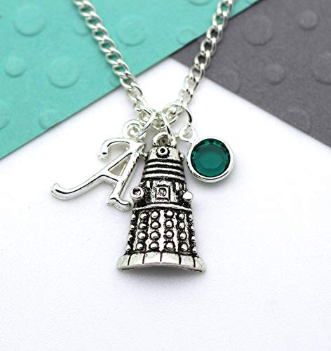 Personalised Doctor Who Dalek Necklace, Dr Who, Tardis Custom Charm Initial Necklace, Personalised Swarovski Birthstone & Name Gift