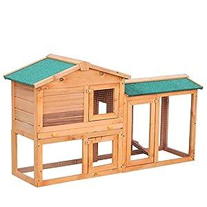 PawHut Conejera para Exterior Madera 145x46x85 (LxAnxAl) Jaula para Conejos y Animales Pequeños con Cerramiento