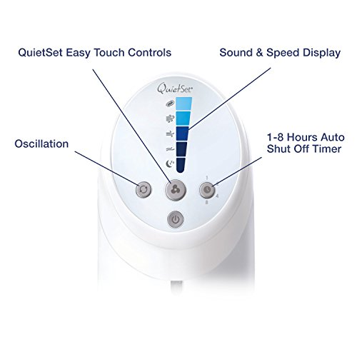 Honeywell HYF260E QuietSet Tower Fan with Remote Control, White