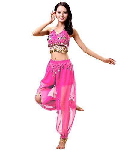 Grouptap Bollywood Donne India Arabo danzatrice del Ventre Paillettes Pantaloni a Fessura Superiore Vestito Costume da Festa Nero/Rosa/Bianco Vestito per Adulti Fantasia (Rosa, 150-170 cm)