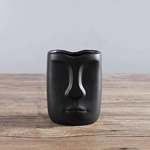 Black Home Décor Vase with Face Pattern, Small Ceramic Flower Pot AC044