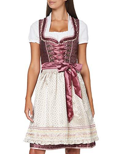 Stockerpoint Damen Dirndl Alisia Kleid für besondere Anlässe, Bordeaux-Creme, 32