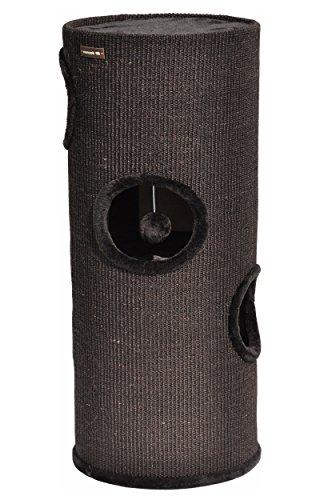 nanook Kratztonne Oskar - Spieltonne für Katzen XXL mit 3 Höhlen und Spielball - Höhe 100 cm Ø 37 cm Farbe schwarz - schwarzer Plüsch
