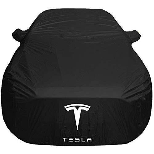 ZMQWE AutoAbdeckung Kompatibel mit Tesla Model 3 Model S Model X Model Y Roadster,Autogarage Autoabdeckung Vollgarage Stoff Wasserdicht Hagelschutz Eingebaut Baumwolle,Model S