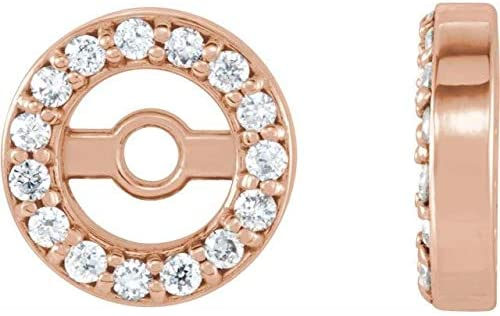 14K Rose Gold .07 CTW Diamond Earring Jackets with 3.4 mm ID Halo-Style Earring Jackets