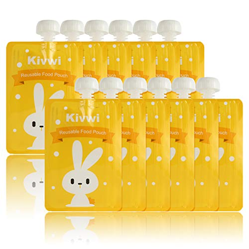 Kivwi Baby, Kid, Toddler Reusable Food Storage Pouches, Dishwasher, Freezer Safe, 12 Packs 7oz Squeezable Pouches with A Filling Funnel and 2 Extra Caps Included, 3 Cute Animal Designs.
