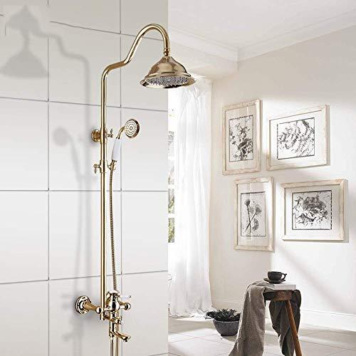Juegos de ducha Yuqiyu Estilo europeo de baño de acero inoxidable grifo de cobre antiguo de ducha ducha de mano Sistema 3 Función del baño a presión enchapada en oro pulverización superior del grifo d