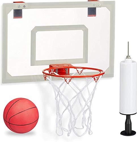 MaxxToys - Cesta de baloncesto unisex para dormitorio, con balón y bomba de aire, tabla de planchar a la puerta sin taladrar, multicolor, 45 x 45 x 33 cm