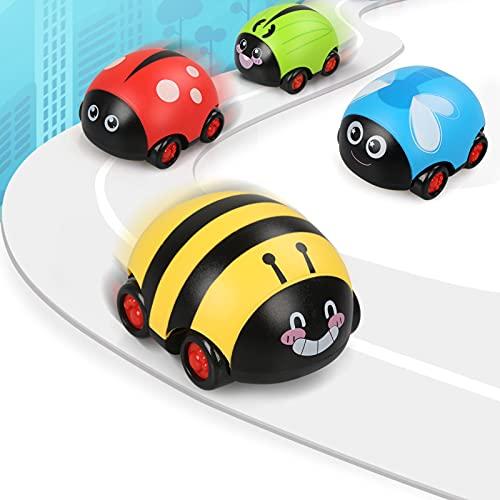 JoyPlus Tire hacia Atrás Coches, 4 Piezas Juguetes para Niños Pequeños Vehículos de Tracción, Animales Lindos de Juguete con Fricción para Niños y Niñas de Entre 1 2 3 Años