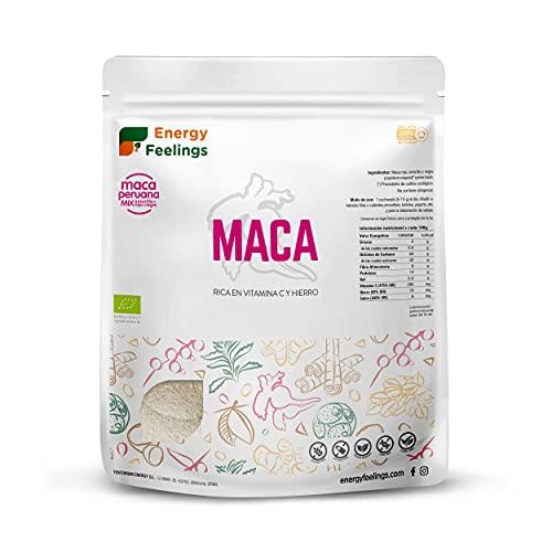 Energy Feelings Maca Andina En Polvo Ecológica Peruana   Maca Mixta: Roja, Negra Y Amarilla   Nutrición Deportiva   Vegana   Sin Gluten, color Beige, 1 Kg
