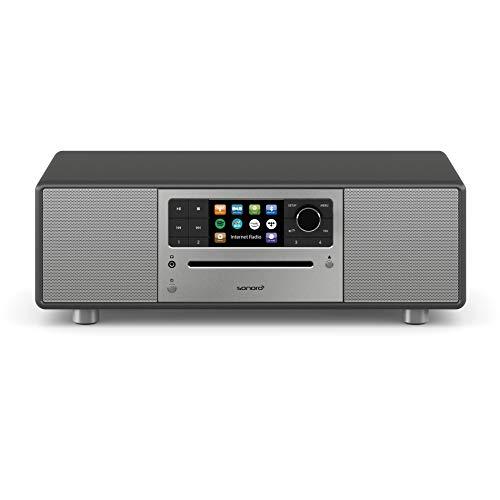 sonoro Prestige Kompaktanlage mit CD Player, Bluetooth und Internet-Radio (UKW, WLAN, DAB Plus, Spotify, Amazon, Deezer, Tidal, USB, MP3) Matt Graphit
