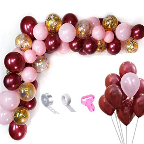 OMIA Burgundy and Pink Garland Kit - 103pcs 12Inch Burgundy Balloons & Gold Confetti Balloons & Pink Balloons Garland Arch Kits for Party Decoration - Wedding Birthday Baby Shower Graduation