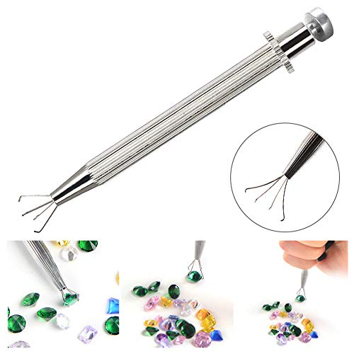 HOTEU Professionelle Grabber mit 4 Krallen Diamant Edelsteine ??Zinke Pinzette Catcher Special Handmade Jewelry Crafts Zubehör