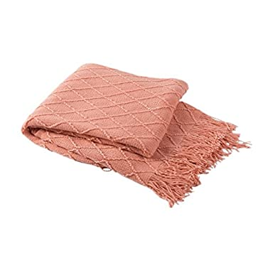 Bourina Coral Throw Blanket Textured Solid Soft Sofa Couch Decorative Knit Blanket, 50  x 60 , Coral