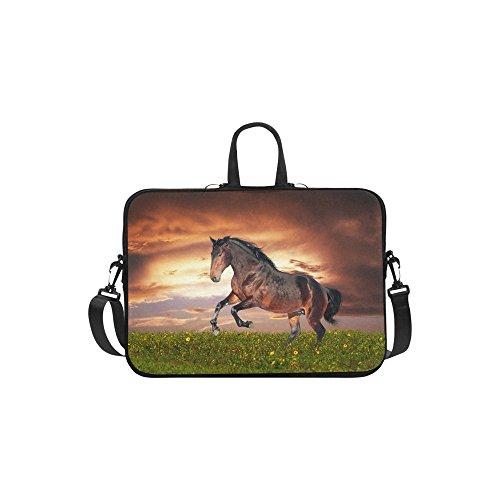 InterestPrint Animal Horse Laptop Sleeve Case Bag, Horse Sunset Shoulder Strap Laptop Sleeve Notebook Computer Bag 15-15.6 Inch for MacBook Pro Air Dell HP Lenovo Thinkpad Acer Ultrabook