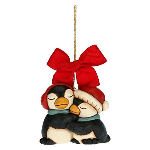 THUN - Addobbo per Albero di Natale Coppia di Pinguini - Decorazioni Natale Casa - Formato Grande - Ceramica - 8 x 5,6 x 6,8 h cm